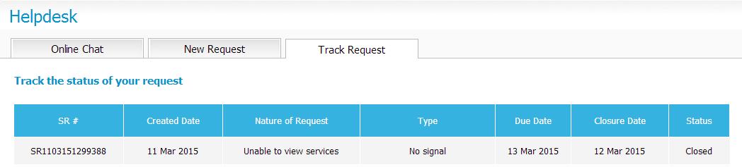Tata Sky service disruption 11 Mar 2015, service request status